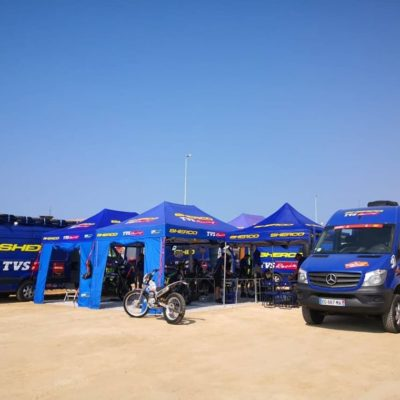 Team Sherco ready for Dakar 2020 avec les tentes Oneevent !